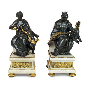 A Pair of Fine Patinated and Gilt Bronze and Marble Figural Lamps