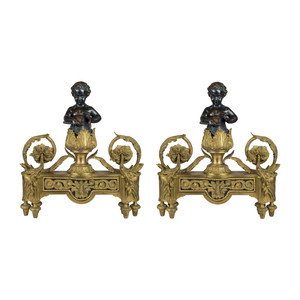 A Fine Quality Pair of Gilt and Patinated Bronze Figural Chenets