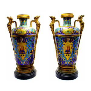 Fine Pair of Champlevé Enamel Vases Attributed to F. Barbedienne