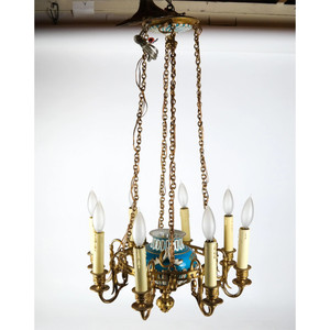 Fine Quality Gilt Bronze and Sèvres-style Porcelain Eight-Light Chandelier