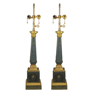 Fine Quality Pair of Highly Decorative Empire Gilt and Patinated bronze lamps