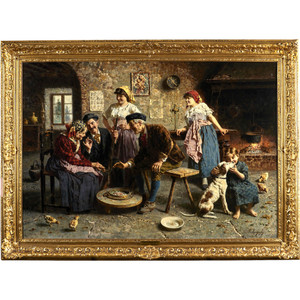 Fine Painting depicting an Italian Family by Eugenio Zampighi