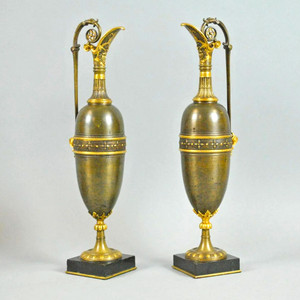 Fine Pair of Neoclassical Style Bronze Ewers