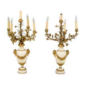 A Fine Quality Pair of Neoclassical Gilt Bronze and Marble Five-Light Candelabra