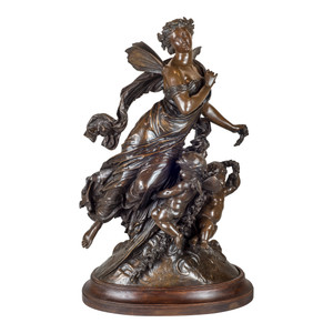 A Fine Quality French Patinated Bronze Figural Group on Bronze by Moreau
