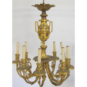Fine Quality French Gilt Bronze Champlevé Enamel Nine-Light Chandelier Attributed to Barbedienne