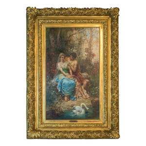 Fine Quality Austrian Painting of Two Maidens by the Pond by Hans Zatzka