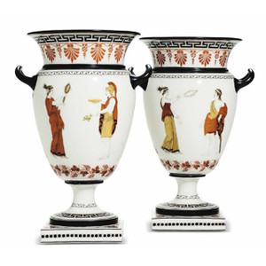 Pair of 19th Century French Porcelain Greek-Revival Style Vases