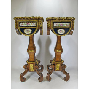 Fine Quality Pair of Bronze Mounted Mahogany and Sevres Style Porcelain Planters