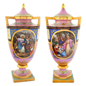 A Fine Pair of Vienna-style Austrian Painted Porcelain Vases and Cover