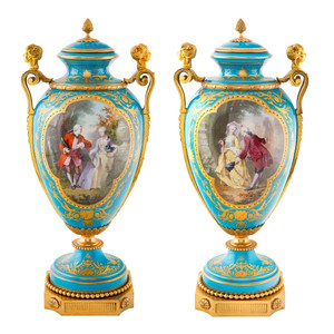 Fine Quality Pair of Sèvres-Style Turquoise Ground Porcelain Vases and Cover