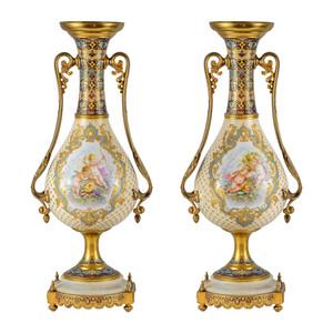 Fine Pair of Ormolu-Mounted Sèvres-Style Porcelain Champlevé Vases