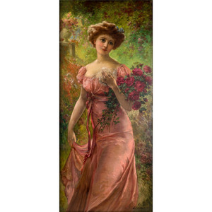 A Fine Portrait of a Young Beauty Holding a Bouquet of Roses by Emile Vernon