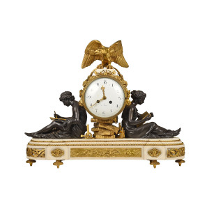 A Fine Quality Louis XVI Style Gilt Bronze Figural Mantel Clock and Marble Base