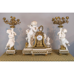 A Fine Quality French Gilt Bronze and Carrara Marble Figural Clockset