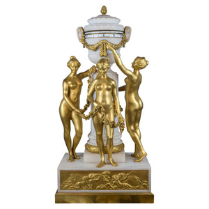 Exceptional and unique gilt bronze and white marble 'Three Graces' rotary clock