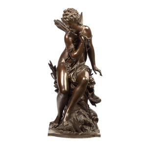 Art Nouveau Allegorical Bronze Sculpture Entitled 'La Libellule' by Moreau