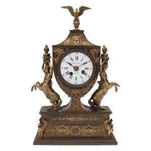 A Fine French Empire Patinated and Gilt Bronze Mantle Clock