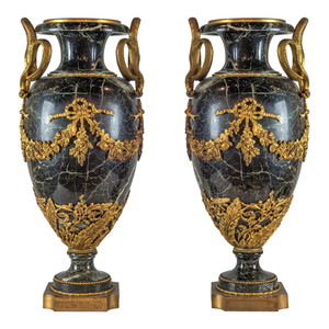 A Grand Ormolu-Mounted Verde Antico Marble Urns with Serpent Handles