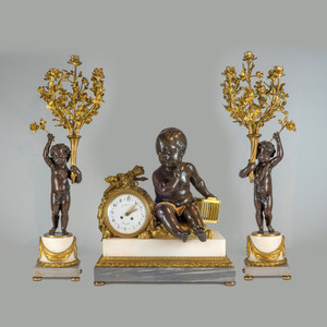 A French Ormolu Mounted and Patinated Bronze Three-Piece Clockset and Marble by H. LUPPEN & Cie.