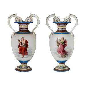 Fine Quality Pair of Painted KPM Porcelain Vases