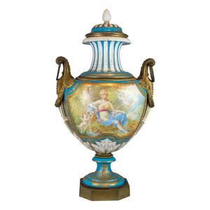 A Fine Ormolu-Mounted Sèvres Style Turquoise-Ground Vase and Cover