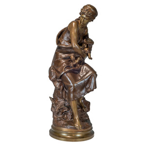 A Fine Quality Patinated Bronze Group of a Mother and Child by Mathurin Moreau