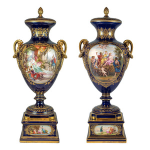 Highly Important Pair of Royal Vienna Painted Porcelain Urn and Cover