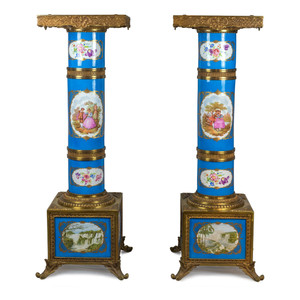 An exceptional pair of Turquoise Ground Sèvres Porcelain and Gilt Bronze Pedestals.