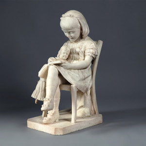 Finely Carved Italian Carrara Marble Sculpture of a Girl Reading by L Tolducci