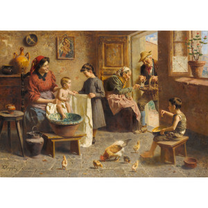 Finely Painting of a Happy Italian Family by Zamphigi