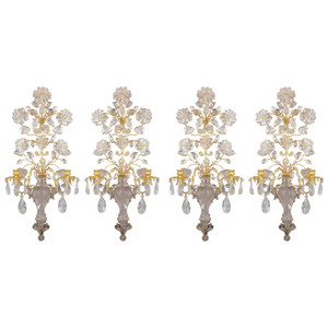 A Fine Quality Set of Four French Two-Light Gilt Metal Rock Crystal Wall Sconces
