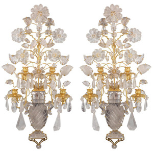 A Fine Quality Pair of French Four-Light Gilt Metal Rock Crystal Wall Sconces