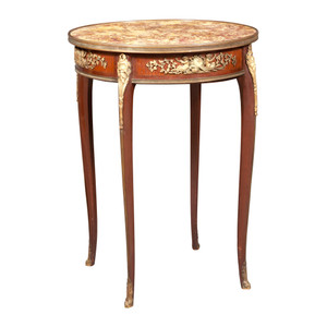 A Fine Quality French Gilt Bronze Mounted Mahogany Bouillotte Marble-Top Table
