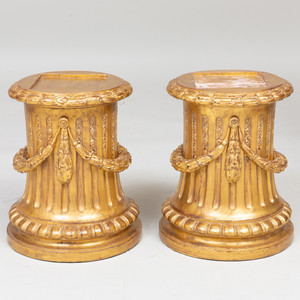 A Fine Pair of French Louis XVI Style Giltwood Footed Plinths
