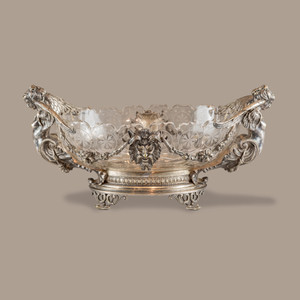 A Fine Quality French Silvered Bronze and Cut Glass Centerpiece by J.L. Hermann
