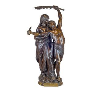 A Fine Quality Bronze Group Entitled 'Gloria Patriae' by Eugene Marioton
