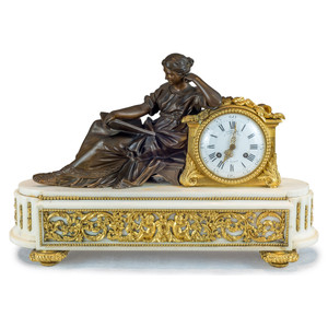A Fine Quality Gilt and Patinated Figural Bronze Mantel Clock