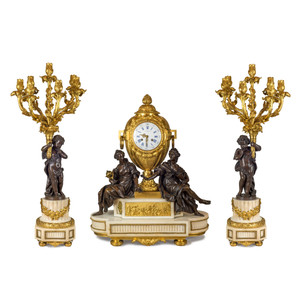 Fine Quality French Gilt and Patinated Bronze and White Marble Clockset
