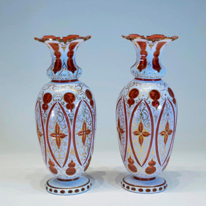 A Fine Pair of Bohemian Overlay Glass Vases