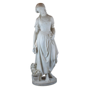 Fine Quality Italian Carrara Marble Statue of a Young Beauty