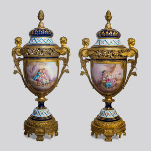 A Fine Quality and Important Sèvres Style Bronze Mounted and Cobalt Porcelain Vases and Cover
