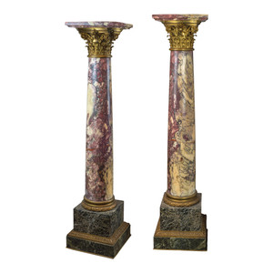 A Fine Quality Monumental Pair of Gilt Bronze Mounted Marble Pedestal with Corinthian Capitol