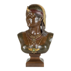 Fine Quality patinated Bronze Bust of Cleopatra by Cesar Ceribelli
