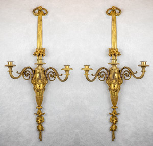 A Large and Fine Pair of Henri Vian French Ormolu Three-Light Wall Light Sconces
