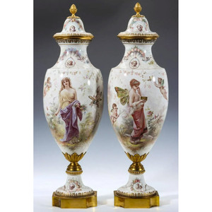 A Fine Quality Pair of Sèvres-style Porcelain Vases and Cover by M. Demonceaux