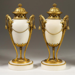 Very Fine Pair of Gilt Bronze and White Marble Covered Urns