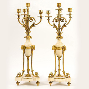 Very Fine Pair of Louis XVI Gilt Bronze and Marble Four-Light Candelabras