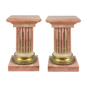 Fine Pair of French Gilt Bronze-Mounted Pink Marble Pedestal