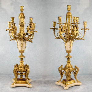 A Fine Quality Pair of Louis XVI Style Gilt Bronze and Marble Eight-Light Candelabras